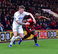 Swansea City's Alfie Mawson (L) battles with Bournemouth's Benik Afobe (R)<br /> <br /> Bournemouth 2 - 0 Swansea<br /> <br /> Photographer David Horton/CameraSport<br /> <br /> The Premier League - Bournemouth v Swansea City - Saturday 18th March 2017 - Vitality Stadium - Bournemouth<br /> <br /> World Copyright &copy; 2017 CameraSport. All rights reserved. 43 Linden Ave. Countesthorpe. Leicester. England. LE8 5PG - Tel: +44 (0) 116 277 4147 - admin@camerasport.com - www.camerasport.com