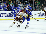 SIOUX FALLS, SD - MARCH 24: Blake Young #17 from Minnesota Duluth battles for the puck with Ben Kucera #14 from Air Force during their game at the 2018 West Region Men's NCAA DI Hockey Tournament at the Denny Sanford Premier Center in Sioux Falls, SD. (Photo by Dave Eggen/Inertia)