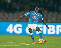 Napoli's Kalidou Koulibaly  during the  italian serie a soccer match,between SSC Napoli and AS Roma       at  the San  Paolo   stadium in Naples  Italy ,December 13, 2015