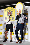 (L to R) Takashi and Tsukasa Saito members of the comedy duo Trendy Angel speak during a press conference to announce the new SoftBank Electricity service plan at the company's headquarters on January 12, 2016, Tokyo, Japan. In partnership with Tokyo Electric Power Company (TEPCO), Japan's third largest internet and telecommunications corporation will join the electricity retail market offering discounted rates from April 1st. (Photo by Rodrigo Reyes Marin/AFLO)