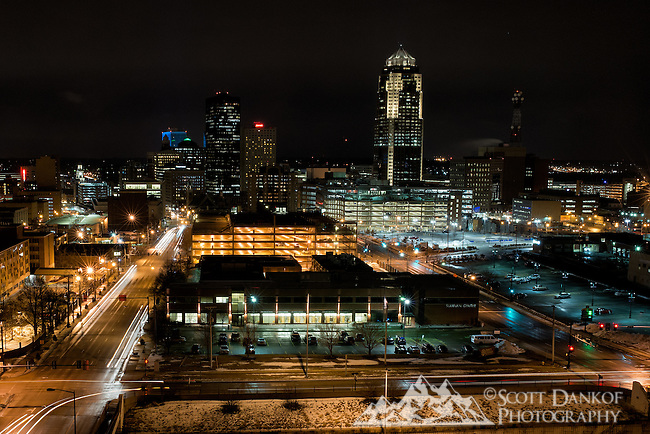 Nightfall on the Des Moines, Iowa skyline.