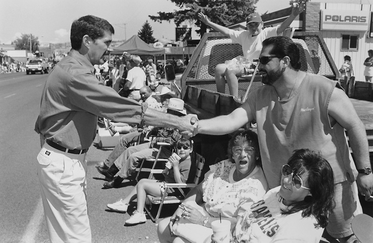 Lieutenant Governor Denny Rehberg campaigns at the Freedom Festival Parade in Butte on July 4, 1996. (Photo by Patrick Krohn/CQ Roll Call via Getty Images)