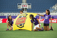 Orlando, Florida - Sunday, May 14, 2016: New York Flash banner is displayed during introductions of a National Women's Soccer League match between Orlando Pride and New York Flash at Camping World Stadium.
