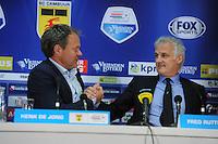 VOETBAL: LEEUWARDEN: 26-10-2014, Canbuurstadion, Cambuur - Feyenoord, uitslag 0-1, Henk de Jong (trainer Cambuur), Fred Rutten (trainer Feyenoord), ©foto Martin de Jong
