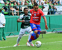 PALMIRA - COLOMBIA, 01-09-2019: Juan Camilo Angulo del Cali disputa el balón con Ray Vanegas de Pasto durante partido entre Deportivo Cali y Deportivo Pasto por la fecha 9 de la Liga Águila II 2019 jugado en el estadio Deportivo Cali de la ciudad de Palmira. / Juan Camilo Angulo of Cali vies for the ball with Ray Vanegas of Pasto during match between Deportivo Cali and Deportivo Pasto for the date 9 as part Aguila League II 2019 played at Deportivo Cali stadium in Palmira city. Photo: VizzorImage / Nelson Rios / Cont