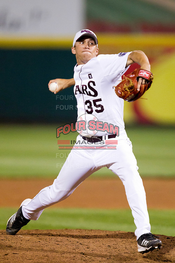 Grant Gordon (35) of the Missouri State Bears delivers a pitch during a game against the Kansas Jayhawks at Hammons Field on March 27, 2012 in Springfield, Missouri. (David Welker/Four Seam Images)