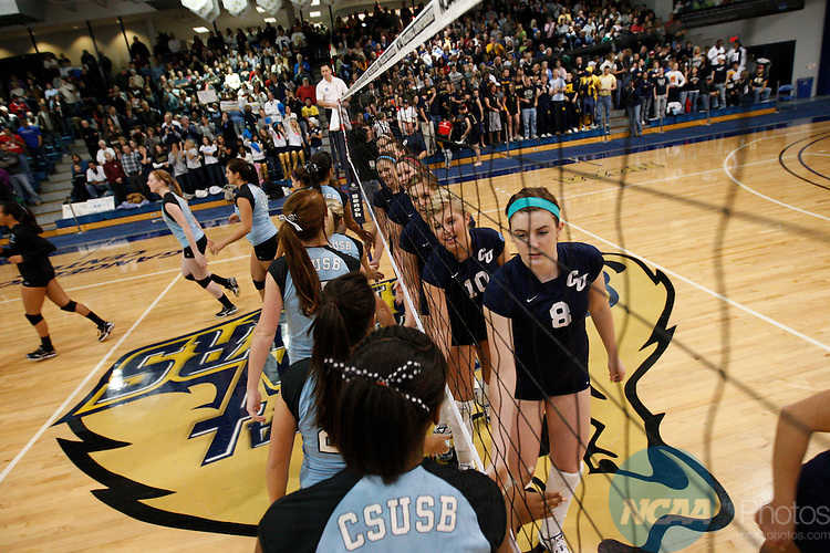 06 December 2008: Concordia University takes on Cal State San Bernardino during the Division II Women's Volleyball Championships held at the Gangelhoff Center on the Concordia University campus in St. Paul, MN. Concordia defeated Cal State San Bernardino 3-2  for the national title.  Carlos Gonzalez/NCAA Photos.