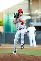 Greeneville Reds starting pitcher Lyon Richardson (16) in action against the Pulaski Yankees at Calfee Park on June 23, 2018 in Pulaski, Virginia. The Reds defeated the Yankees 6-5.  (Brian Westerholt/Four Seam Images)