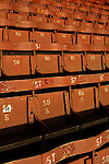 Southend United 1 Burton Albion 1, 22/02/2016. Roots Hall, League One. Numbered wooden seats in the main stand at Roots Hall stadium, pictured before Southend United took on Burton Albion in a League 1 fixture. Founded in 1906, Southend United moved into their current ground in 1955, the construction of which was funded by the club's supporters. Southend won this match by 3-1, watched by a crowd of 6503. Photo by Colin McPherson.