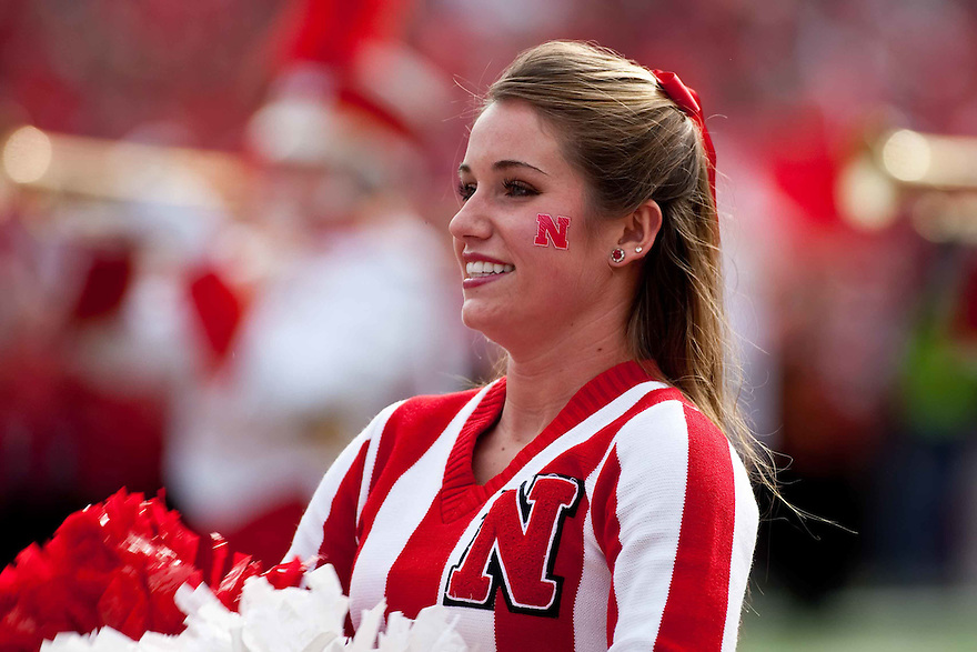 24 October 2009: Nebraska cheerleader in pre-game festivities before the football game against Iowa State at Memorial Stadium, Lincoln, Nebraska. Iowa State defeats Nebraska 9 to 7.