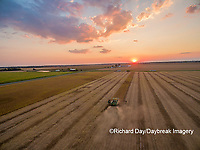 63801-09402 Soybean Harvest, John Deere combine harvesting soybeans at sunset - aerial - Marion Co. IL