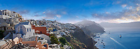 Panoramic view of Oia (ia), Cyclades Island of  Thira, Santorini, Greece