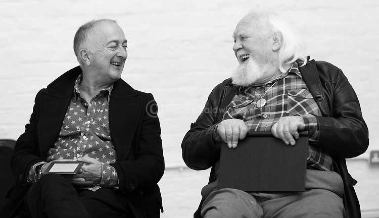 """King Lear"" rehearsed reading rehearsals. Old Vic Theatre. Director: Jonathan Miller. Tony Robinson (L), Joss Ackland (R)."