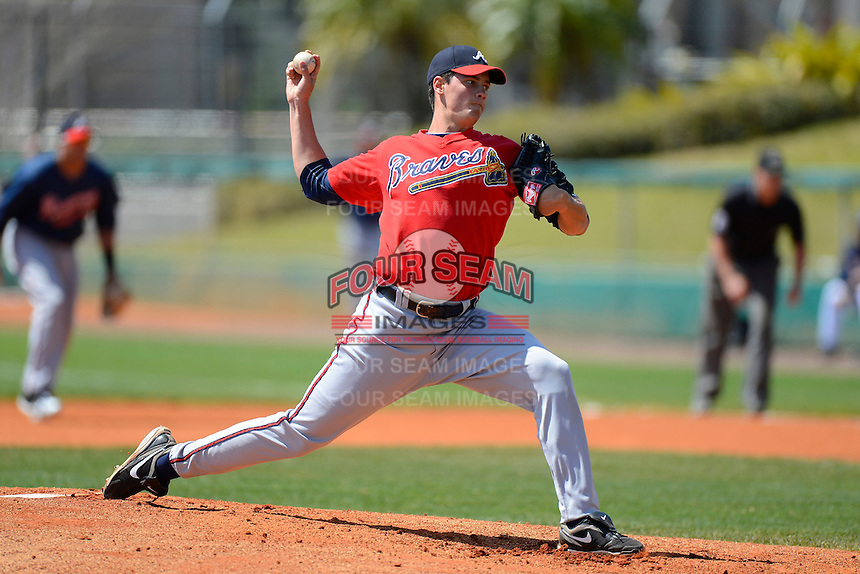 Atlanta Braves pitcher A.J. Holland #88 during a minor league Spring Training game against the Philadelphia Phillies at Al Lang Field on March 14, 2013 in St. Petersburg, Florida.  (Mike Janes/Four Seam Images)