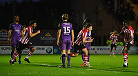 Lincoln City's Shay McCartan, centre, celebrates scoring the opening goal<br /> <br /> Photographer Chris Vaughan/CameraSport<br /> <br /> The EFL Sky Bet League Two - Lincoln City v Port Vale - Tuesday 1st January 2019 - Sincil Bank - Lincoln<br /> <br /> World Copyright © 2019 CameraSport. All rights reserved. 43 Linden Ave. Countesthorpe. Leicester. England. LE8 5PG - Tel: +44 (0) 116 277 4147 - admin@camerasport.com - www.camerasport.com