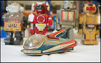 BNPS.co.uk (01202 558833)<br /> Pic: PhilYeomans/BNPS<br /> <br /> 1950's tinplate space ship.<br /> <br /> Take me to your leader - out of this world collection of rudimentary robots from the earliest days of sci-fi.<br /> <br /> The huge collection of over 500 classic sci-fi toys dates back to the 1950's and 60's and could now be worth a whopping &pound;30,000.<br /> <br /> The huge collection was started by a robot mad schoolboy in the 1950's as the Russian Sputnik satellite kick started the race for space and sparked huge interest in science fiction.<br /> <br /> The oldest items date from the late 1950's with models continuing all the way through to the 1990s with several classic favourites included.<br /> <br /> There are a number of lots related to TV classic Thunderbirds and a model of Robbie the Robot, who featured in the TV series Lost in Space and the film Forbidden Planet remains in terrific condition.