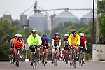 Riders make their way into Gilbertville Friday morning on RAGBRAI XXXVIII.