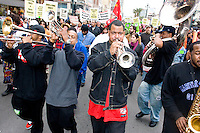 People march downtown from Congo Square in New Orleans on December 10, 2005.  After the storm, much of the citizenry of New Orleans felt their voices were not being heard by the local or national government.