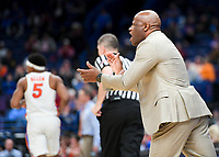 NWA Democrat-Gazette/CHARLIE KAIJO Arkansas Razorbacks head coach Mike Anderson leads his team during the Southeastern Conference Men's Basketball Tournament quarterfinals, Friday, March 9, 2018 at Scottrade Center in St. Louis, Mo.