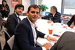 Albert Rivera, Toni Roldan during the meeting between president of Ciudadanos Albert Rivera and the deputies Toni Roldan, and Sergio del Campo, Begona Villacis with the representatives of the trade unions of CC.OO and UGT, Ignacio Fernandez Toxo and Jose Alvarez in Madrid, Spain. December 122016. (ALTERPHOTOS/Rodrigo Jimenez)