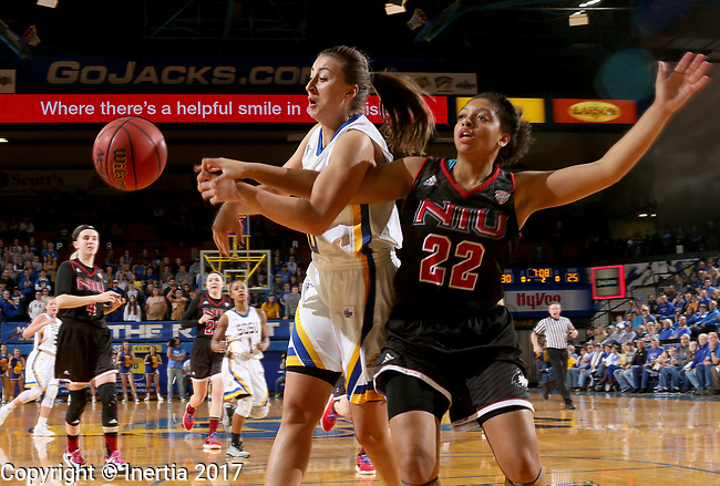 BROOKINGS, SD - MARCH 16:  Sydney Palmer #32 from South Dakota State University battles for the loose ball with Janae Poisson #22 from Northern Illinois during their first round WNIT game Thursday at Frost Arena in Brookings.(Photo by Dave Eggen/Inertia)