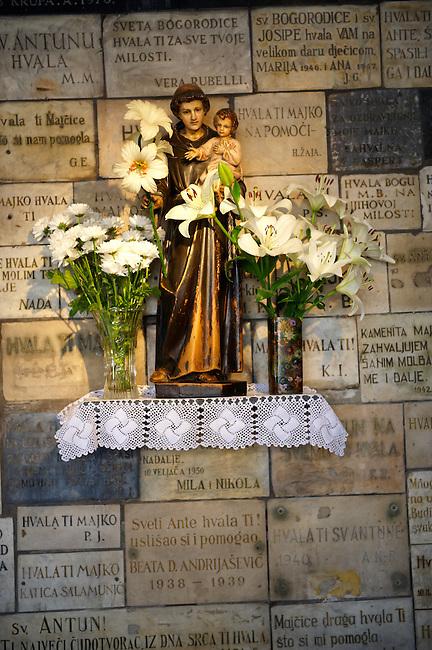 Memorial plaques at the Shrine to the Virgin Mary in The Stone Gate entrance Kamenita Vrata) to Zagreb's Gornji Grad, Croatia