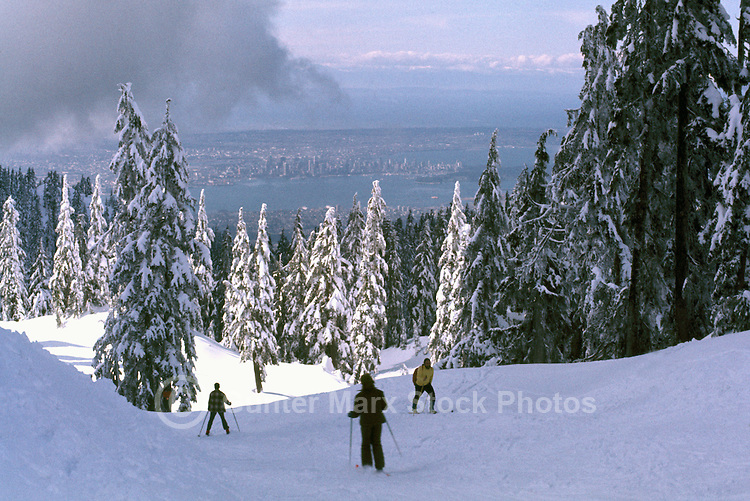 Downhill Skiers skiing down Mountain Slope, and Cross Country Skier climbing uphill, Mount Seymour Provincial Park, North Vancouver, BC, British Columbia, Canada -  Coast Mountains overlooking Vancouver City and Burrard Inlet, Winter