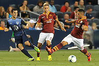 Sporting Park, Kansas City, Kansas, July 31 2013:<br /> Tony Beltran (2) defender MLS All-Stars watches his cross go pass Gianluca Caprani.<br /> MLS All-Stars were defeated 3-1 by AS Roma at Sporting Park, Kansas City, KS in the 2013 AT & T All-Star game.