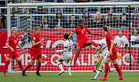 CARSON, CA - FEBRUARY 9: Kadeisha Buchanan #3 of Canada defending in the box during a game between Canada and USWNT at Dignity Health Sports Park on February 9, 2020 in Carson, California.
