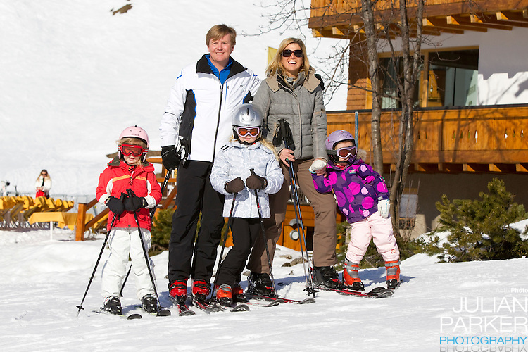 Crown Prince Willem Alexander, and Crown Princess Maxima of Holland with Daughters, Princess Alexia ( left ), Princess Catharina Amalia ( centre ) and Princess Ariane ( right ) attend a Photocall with Members of The Dutch Royal Family during their Winter Ski Holiday in Lech Austria