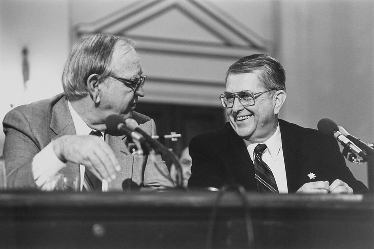 Rep. Joe Moakley, D-Mass., and Rep. Gerald B. H. Solomon, R-N.Y., (Rules Commission) before the House Oversight Committee on March 2, 1995. (Photo by Laura Patterson/CQ Roll Call)