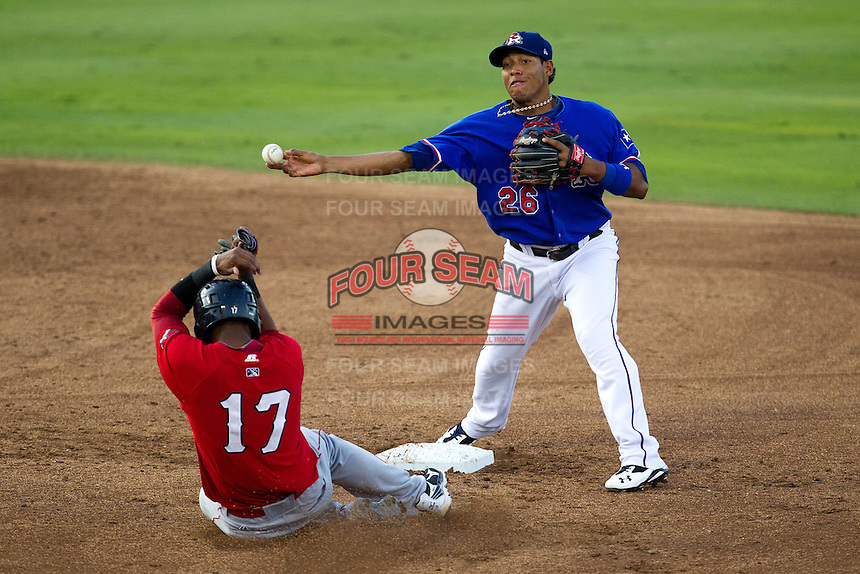 Round Rock Express second baseman Yangervis Solarte #26 turns a double play during the Pacific Coast League baseball game against the Oklahoma City RedHawks on June 15, 2012 at the Dell Diamond in Round Rock, Texas. The Express shutout the RedHawks 2-1. (Andrew Woolley/Four Seam Images).