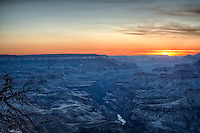 Sunset in the Canyons.The landscape of the grand canyon is a very powerful place and at times can take your breath away. The canyon are a gelogic wonder in that are constantly eroding and changing over time. The Colorado river runs through the canyon and is ever changing the canyons as more and more of the rock below are exposed.