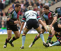 2006, Powergen National Trophy, Quins Ian Vass passes to Nick Easter [right] Twickenham, NEC Harlequins vs Bedford Blues, ENGLAND, 09.04.2006, 2006, , © Peter Spurrier/Intersport-images.com.   [Mandatory Credit, Peter Spurier/ Intersport Images].