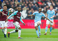 Manchester City Raheem Sterling during the EPL - Premier League match between West Ham United and Manchester City at the Olympic Park, London, England on 29 April 2018. Photo by Andrew Aleksiejczuk / PRiME Media Images.