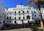 White ayuntamiento town hall building, Vejer de la Frontera, Cadiz Province, Spain