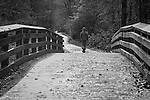 A hooded man walking across a wooden bridge along a forest path.
