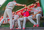 24 May 2015: Philadelphia Phillies outfielder Jeff Francoeur gives teammate Luis Garcia a fist bump prior to a game against the Washington Nationals at Nationals Park in Washington, DC. The Nationals defeated the Phillies 4-1 to take the rubber game of their 3-game weekend series. Mandatory Credit: Ed Wolfstein Photo *** RAW (NEF) Image File Available ***