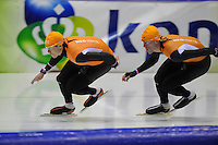 SCHAATSEN: HEERENVEEN: 31-01-2014,  IJsstadion Thialf, Training Topsport, Stefan Groothuis, Ronald Mulder, ©foto Martin de Jong