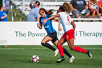 Kansas City, MO - Saturday September 9, 2017: Shea Groom, Casey Short during a regular season National Women's Soccer League (NWSL) match between FC Kansas City and the Chicago Red Stars at Children's Mercy Victory Field.