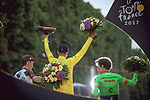 The final podium Christopher Froome (GBR) Team Sky wins his 4th Tour de France with Rigoberto Uran (COL) Cannondale Drapac in 2nd place and Romain Bardet (FRA) AG2R La Mondiale 3rd at the end of Stage 21 of the 104th edition of the Tour de France 2017, an individual time trial running 1.3km from Montgeron to Paris Champs-Elysees, France. 23rd July 2017.<br /> Picture: ASO/Thomas Maheux | Cyclefile<br /> <br /> <br /> All photos usage must carry mandatory copyright credit (&copy; Cyclefile | ASO/Thomas Maheux)