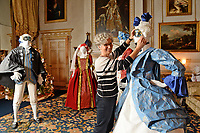 """BNPS.co.uk (01202 558833)<br /> Pic: ZacharyCulpin/BNPS<br /> <br /> Denise has created 14 outfits for the festive display<br /> <br /> Ori-garments -  Artist Denise Watson has created a stunning 1750's masquerade Christmas Ball with characters made entirely from paper at the National Trust's Uppark House in West Sussex.<br /> <br /> Denise has dressed 14 shop mannequins with clothes, shoes, masks, fans, floral details, hair and even jewellery made from things like tissue paper, gift wrap and brown parcel paper. <br /> <br /> The festive display was inspired by Admiral Lord Gambier's memoirs in which he quotes from Lady Sarah Featherstonhaugh's journal of 1753 where she wrote: """" The whole party afterwards proceed to Uppark, where they passed a cheerful happy Christmas in the most friendly society, and enlivened their neighbourhood with some masked balls.""""<br />  <br /> The design to the finished result took a total of three months. Denise said, """"I am really delighted with the final result. It has been a joy to work at Uppark using the grand rooms and to recreate an event which actually took place""""."""