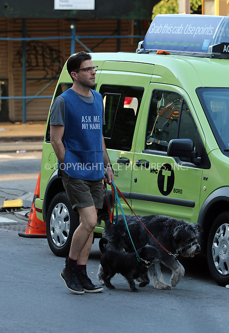 ACEPIXS.COM<br /> <br /> June 18 2014, New York City<br /> <br /> Actor Zachary Quinto was on the set of the TV show 'Girls' on June 18 2014 in New York City<br /> <br /> <br /> By Line: Zelig Shaul/ACE Pictures<br /> <br /> ACE Pictures, Inc.<br /> www.acepixs.com<br /> Email: info@acepixs.com<br /> Tel: 646 769 0430