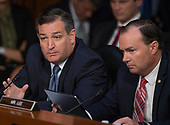 United States Senator Ted Cruz (Republican of Texas), left, questions witnesses who are giving testimony  on the nomination of Judge Brett Kavanaugh before the US Senate Judiciary Committee on his nomination as Associate Justice of the US Supreme Court to replace the retiring Justice Anthony Kennedy on Capitol Hill in Washington, DC on Friday, September 7, 2018.  At right is US Senator Mike Lee (Republican of Utah).<br /> Credit: Ron Sachs / CNP
