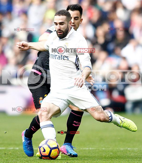 Real Madrid's Daniel Carvajal (f) and RCD Espanyol's Jose Manuel Jurado during La Liga match. February 18,2017. (ALTERPHOTOS/Acero) /Nortephoto.com