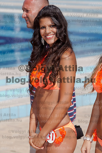 Renata Gyorgyi participates the Miss Bikini Hungary beauty contest held in Budapest, Hungary on August 29, 2010. ATTILA VOLGYI