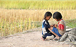 Two children play at the edge of a rice field in Thnort Rorleung, a village in the Kampot region of Cambodia.