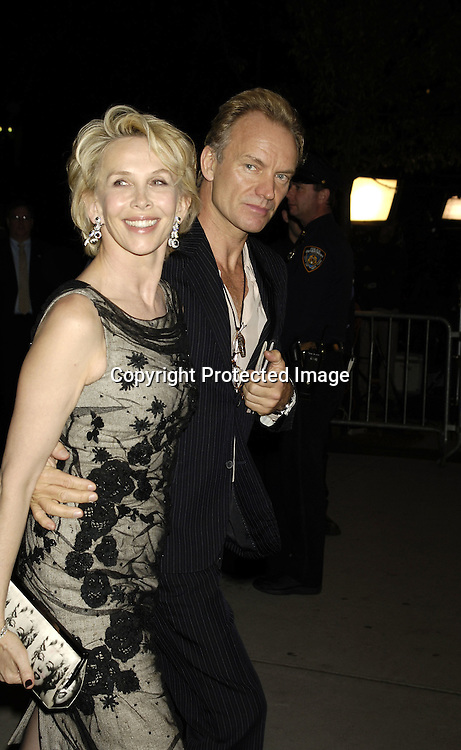 Trudie Styler and Sting ..at The Museum of Modern Art for a party for Prince Charles and The Duchess of Cornwall on November 1, 2005. ..Photo by  Robin Platzer, Twin Images