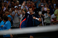 14th January 2019, Melbourne Park, Melbourne, Australia; Australian Open Tennis, day 1; <br /> Andy Murray of Great Britain before a match against Roberto Bautista Agut of Spain