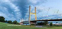 65095-02714 Bill Emerson Memorial Bridge at dusk-night over Mississippi River Cape Girardeau  MO